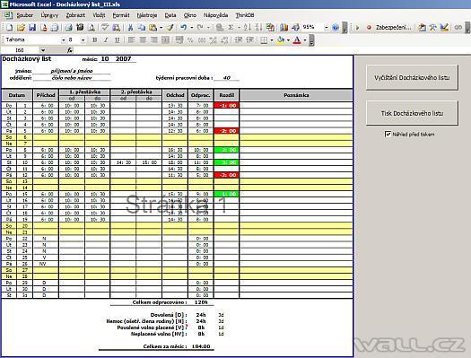 Excel - evidence docházky