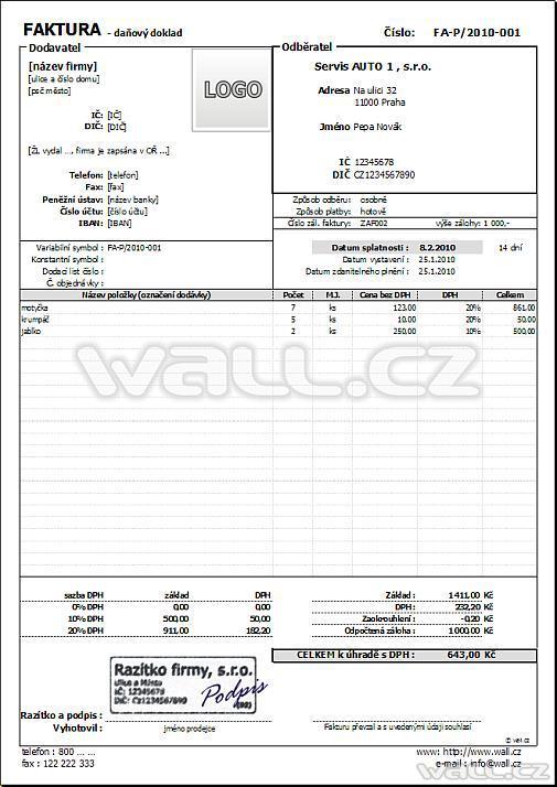 Formulář Faktura Fakturujte V Excelu Wallcz