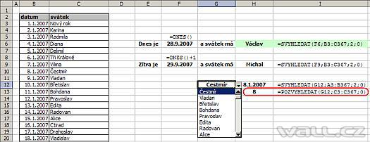 Excel, funkce POVYHLEDAT a INDEX.