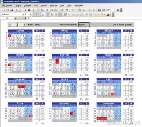 Pracovni Kalendar Wall Cz