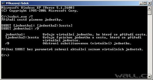 Vytvořte si virtuální disk z adresáře - příkaz SUBST